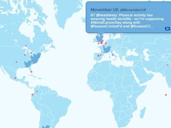 La mappa live su www.worldcancerday.org
