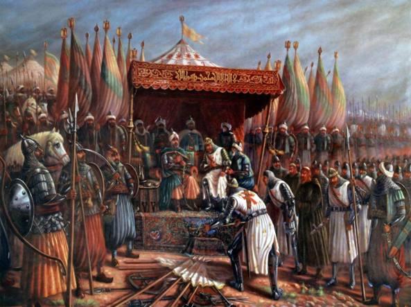 Dipinto dell'artista siriano Said Tahsine (1904-1985): il comandante crociato Guido di Lusignano rende omaggio a Saladino dopo la famosa vittoria de condottiero musulmano nella battaglia di Hattin (1187)