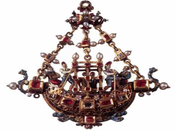 Anonimo, pendente a forma di gondola (1570 circa, oro, smalto, perle, diamanti, rubini), Firenze, Museo degli Argenti, Palazzo Pitti