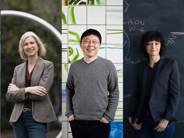 Da sinistra: Jennifer Doudna, Feng Zhang ed Emmanuelle Charpentier