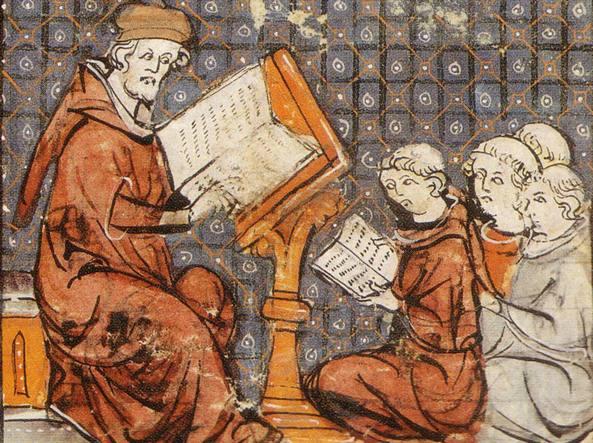 Lezione di filosofia a Parigi, miniatura dalle Grandes chroniques de France, fine XIV secolo