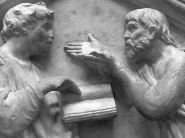 Luca della Robbia (1400-1482), Platone (a destra) e Aristotele in La Dialettica (1437-39)