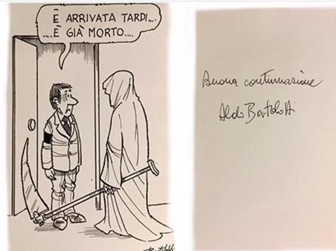 Il vignettista satirico e la cartolina post mortem agli amici: «È tardi»
