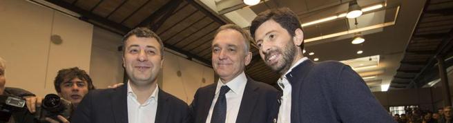 Da sinistra: Scotto, Rossi e Speranza, sono loro ad aver lanciato il nuovo movimento chiamato «Democratici e progressisti»