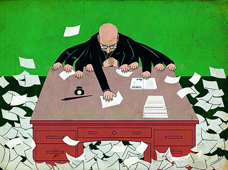 La produzione cartacea enorme e soffocante degli apparati burocratici rappresentata in una illustrazione simbolica di Beppe Giacobbe