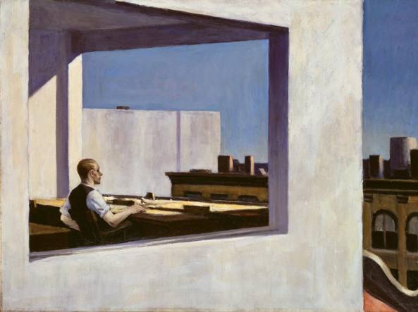 Il dipinto Office in a Small City (1953) di Edward Hopper