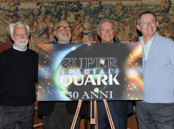 Al centro,  Mainardi e Angela ad una presentazione di Super Quark (Ansa)