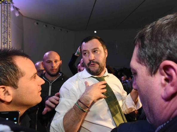 Matteo Salvini a Napoli (LaPresse)