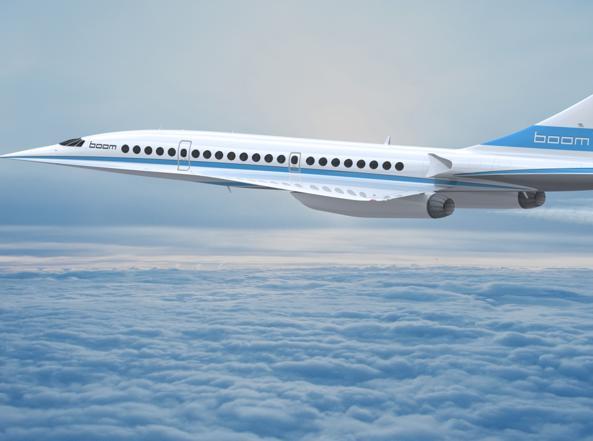 Il rendering di «Boom», l'aereo supersonico (foto Boom Technology)