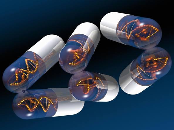 L'illustrazione rappresenta capsule con Dna all'interno allo scopo di simboleggiare l'uso della terapia genetica (Getty Images)