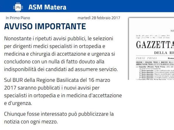 Matera, cercasi 14 medici: stipendio da 3mila euro