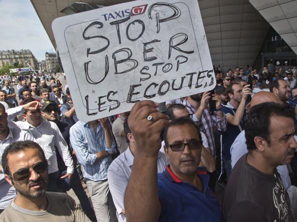 Una protesta contro Uber