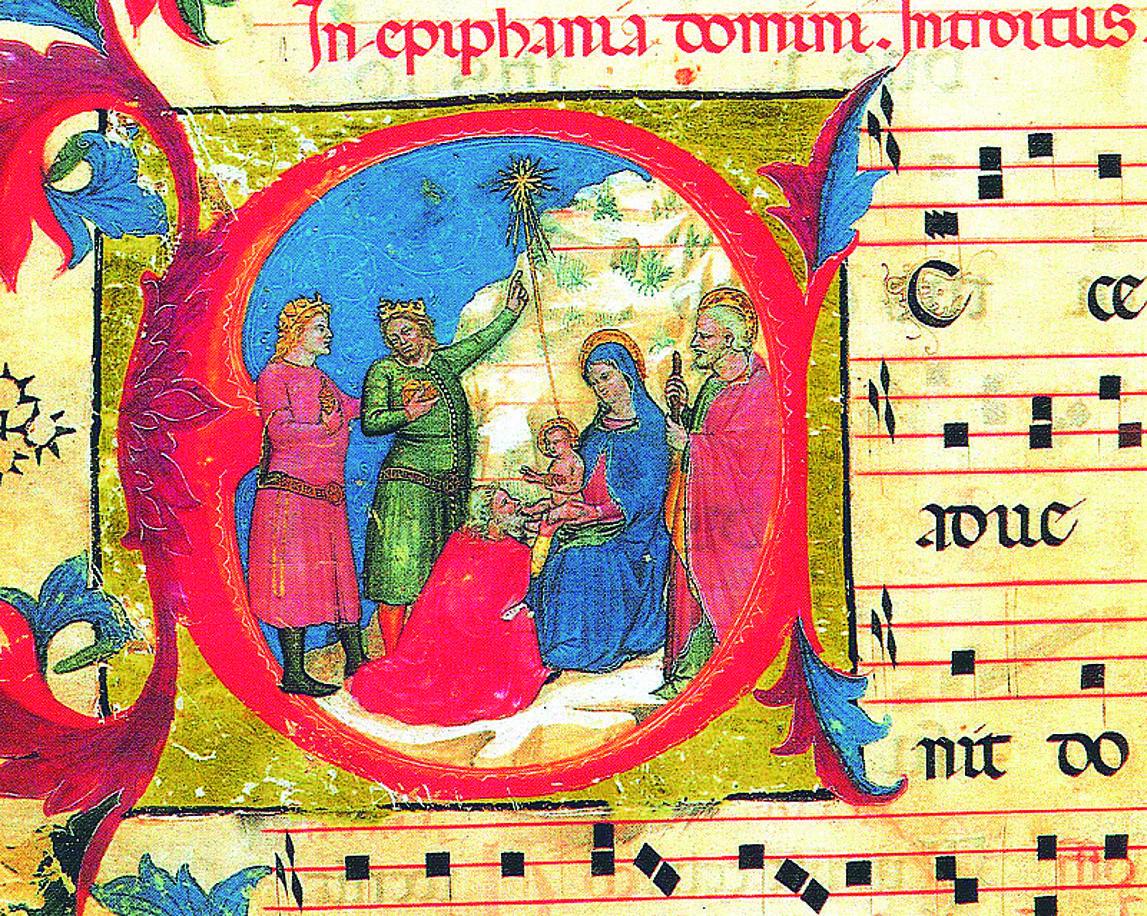 Una miniatura che rappresenta la venuta dei Re Magi a Betlemme, tratta dai Corali Turoniani del XIV secolo conservati nella Biblioteca Capitolare