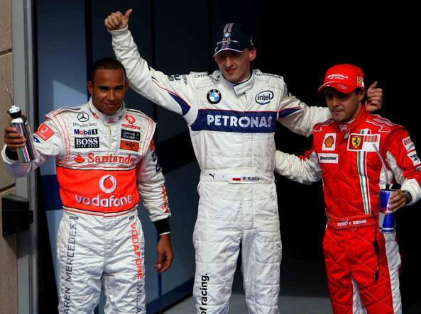 Robert Kubica, con Lewis Hamilton e Felipe Massa, quando correva in Formula 1 (Lapresse)
