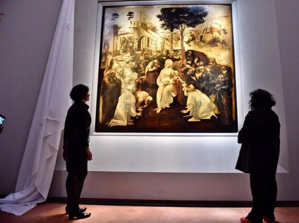 L'«Adorazione dei Magi» di leonardo tornata in esposizione agli Uffizi dopo il restauro (Foto Ansa/Maurizio Degl'Innocenti)
