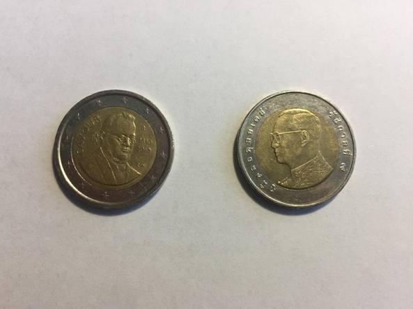 Allarme a Roma: moneta thailandese al posto dei 2 euro