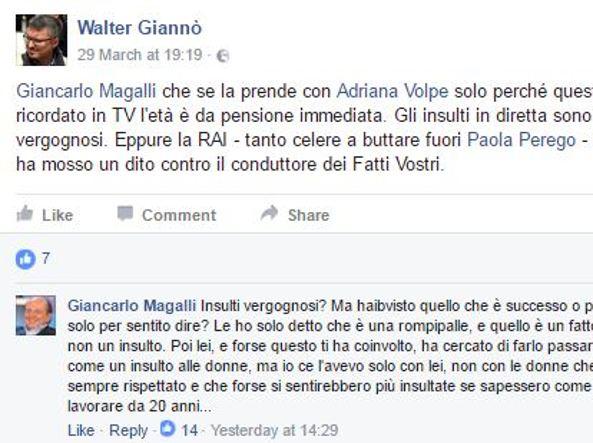Giancarlo Magalli offende ancora Adriana Volpe: è guerra a distanzia sui social