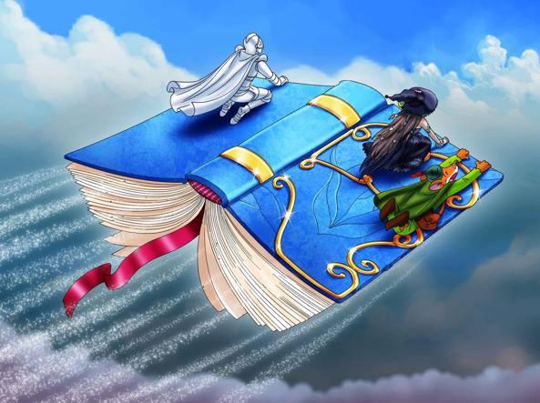 Geronimo Stilton in volo verso il Regno della Fantasia dove si svolgono le sue incredibili avventure (©Atlantyca S.p.A. e ©Edizioni Piemme S.p.A.)