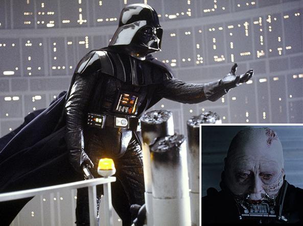Darth Vader nel film «Guerre stellari V - L'Impero colpisce ancora» del 1980 (regia di Irvin Kershner) e, nel riquadro, Vader senza maschera (Ap/LucasFilm)