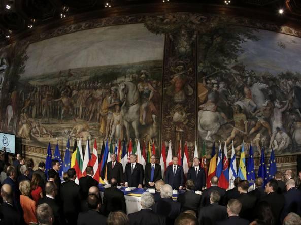 Un momento delle celebrazioni per il 60° anniversario dei Trattati di Roma che diedero vita all'Unione Europea, lo scorso 25 marzo a Roma (REUTERS)
