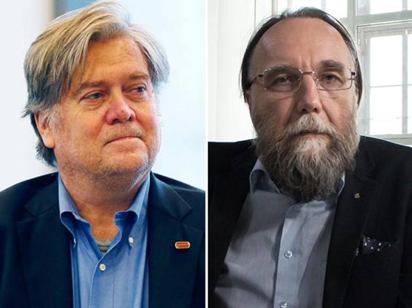 Steve Bannon e Aleksandr Dugin (Reuters/Roberts e Ap/Ebel)