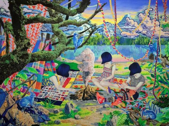 Naomi Okubo (Tokyo, 1985), «Camping - Window display» (2016, acrilico su tela, particolare), courtesy dell'artista / Gallery MoMo, Tokyo