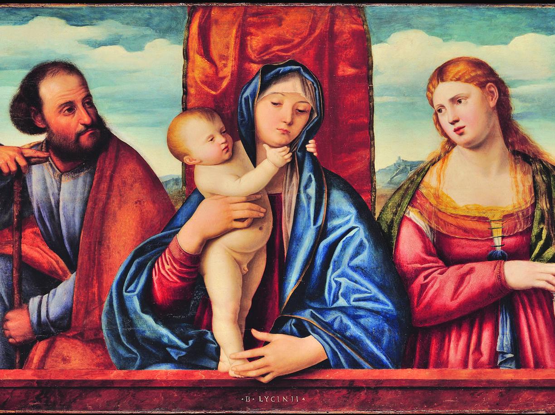 Bernardino Licinio (Venezia, 1489 circa - 1565), Madonna con il Bambino, san Giuseppe e santa Maria Maddalena (1520 circa), in mostra a Pesaro