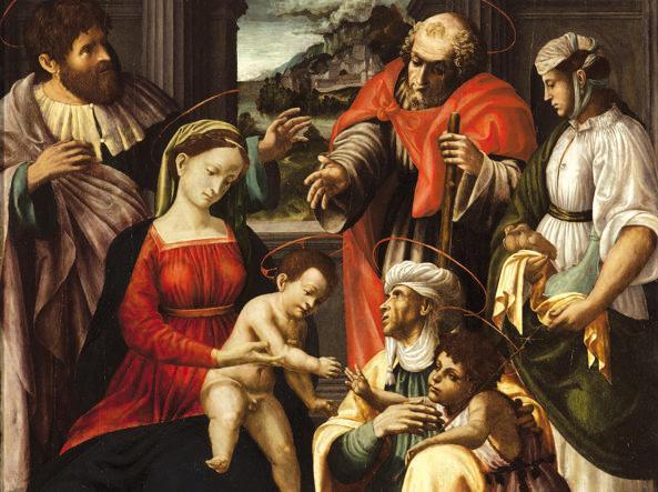 Nicola Filotesio detto Cola dell'Amatrice (Amatrice, circa 1480 - Ascoli Piceno, circa 1547), La Sacra Parentela (1525-1530 circa), in mostra a Urbino