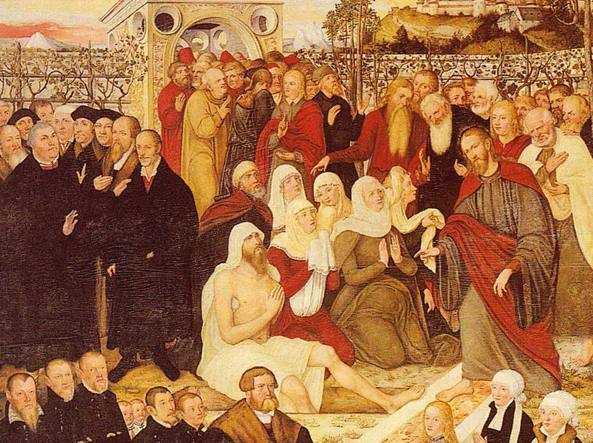 In questo dipinto di Lucas Cranach il Vecchio (1472-1553) si vede Martin Lutero sulla sinistra, con i capelli grigi, mentre assiste al miracolo di Gesù che resuscita Lazzaro dalla morte