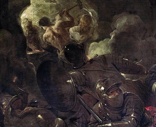 Luca Giordano (1634-1705), La Fucina di Vulcano (1670 circa, olio su tela, particolare)