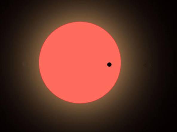 Il transito di LHS 1140b davanti alla stella madra, una nana rossa (Spaceref)