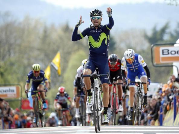 L'arrivo di Alejandro Valverde in cima al Muro di Huy (Afp/Lopez)