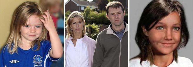 Maddie poco prima di essere rapita, i suoi genitori Gerry e Kate e una simulazione del suo volto a 12 anni