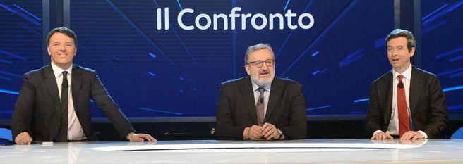 Matteo Renzi, Michele Emiliano e Andrea Orlando negli studi di SkyTg24 per il confronto sui programmi  (Ansa)