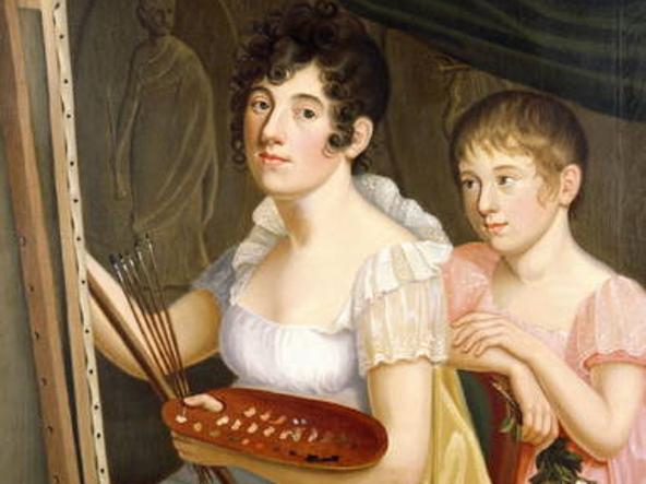 La madre di Schopenhauer, Johanna Trosiener, con l'unica sorella del pittore Adele, in un dipinto di Caroline Bardua