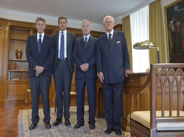 Da sinistra: Marino Breganze, Samuele Sorato, Gianno Zonin (presidente) e Andrea Monorchio