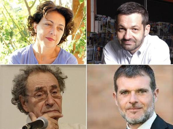 Dall'alto, in senso orario: Alessandra Sarchi, Alessandro Zaccuri,   Stefano Massini e Antonio Prete