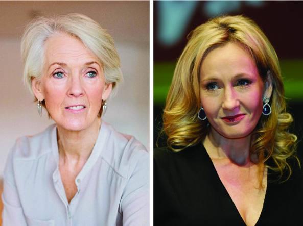 Joanna Trollope (9 dicembre 1943) e, a destra, J. K. Rowling (31 luglio 1965)