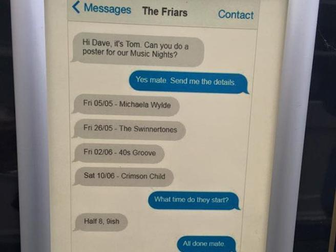 La vera storia del poster per un pub fatto con uno screenshot di Whatsapp e diventato virale