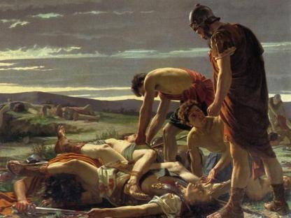 Alcide Segoni, «Il ritrovamento del corpo di Catilina» (1871, olio su tela, particolare, Firenze, Galleria d'arte moderna di Palazzo Pitti)