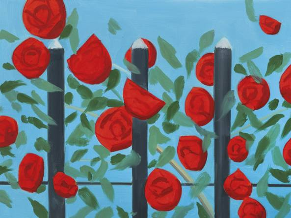 Alex Katz (New York, 1927), Red roses with blue (2001, olio su tela), courtesy dell'artista