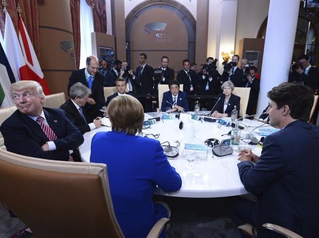 Scontro sul clima, silenzi su Putin Trump rinvia le scelte dopo il G7E invia un'altra portaerei nel Pacifico