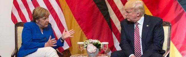 La cancelliera Angela Merkel a colloquio con Donald Trump a margine del vertice
