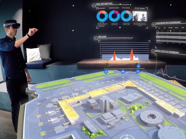 Un addetto aeroportuale utilizza HoloLens per le operazioni dello scalo di Helsinki (foto Sita Lab)