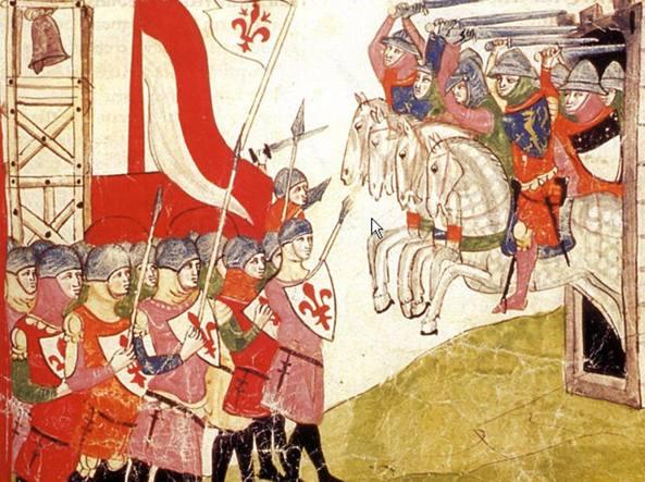 Un codice miniato raffigurante la battaglia di Montaperti, che venne combattuta il 4 settembre 1260 tra ghibellini senesi e guelfi fiorentini. La vittoria andò alle forze di Siena