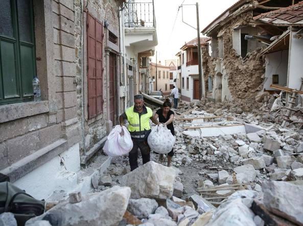 Terremoto: Vrissas è stato il villaggio più colpito sull'isola di Lesbo (Epa)