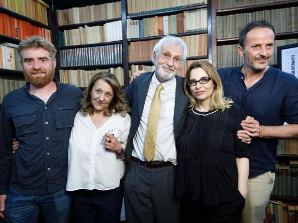 La cinquina finalista. Da sinistra: Paolo Cognetti, Wanda Marasco, Alberto Rollo,  Teresa Ciabatti, Matteo Nucci