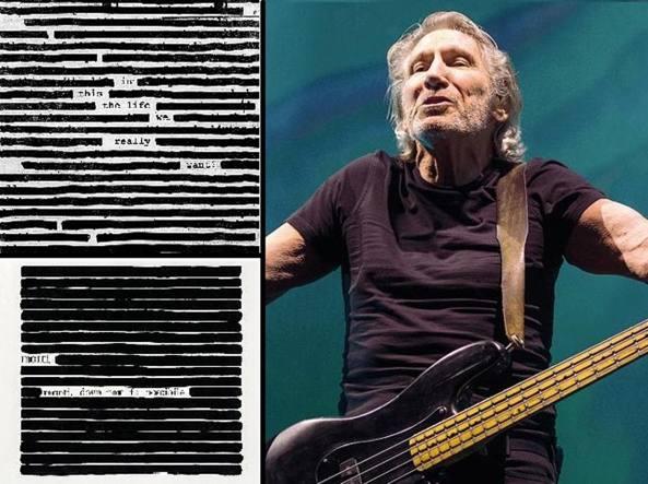 Roger Waters e a sinistra la «cancellatura» di Isgrò accostata dai giudici alla copertina del disco dell'ex Pink Floyd (Ap)