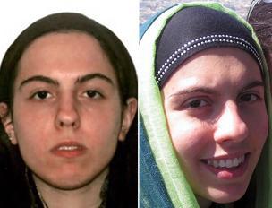 Lara prima della conversione all'Islam  e con il velo