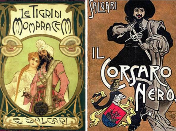 Due copertine di capolavori salgariani, «Le Tigri di Mompracem» e «Il Corsaro Nero»